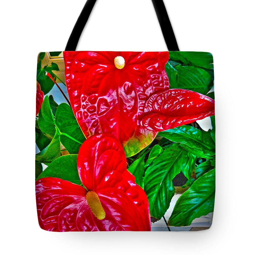 Ebsq Tote Bag featuring the photograph Anthurium by Dee Flouton