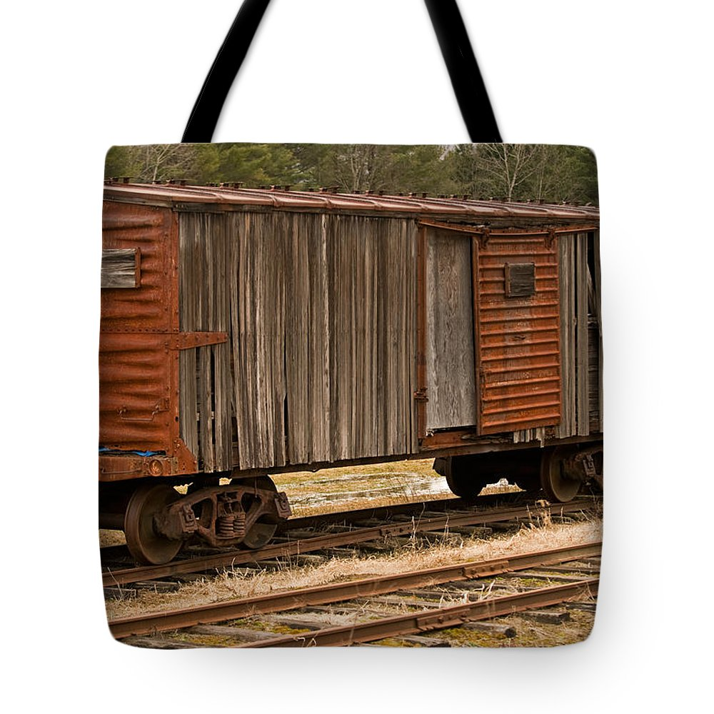 antique Boxcar Tote Bag featuring the photograph Antique Boxcar by Paul Mangold