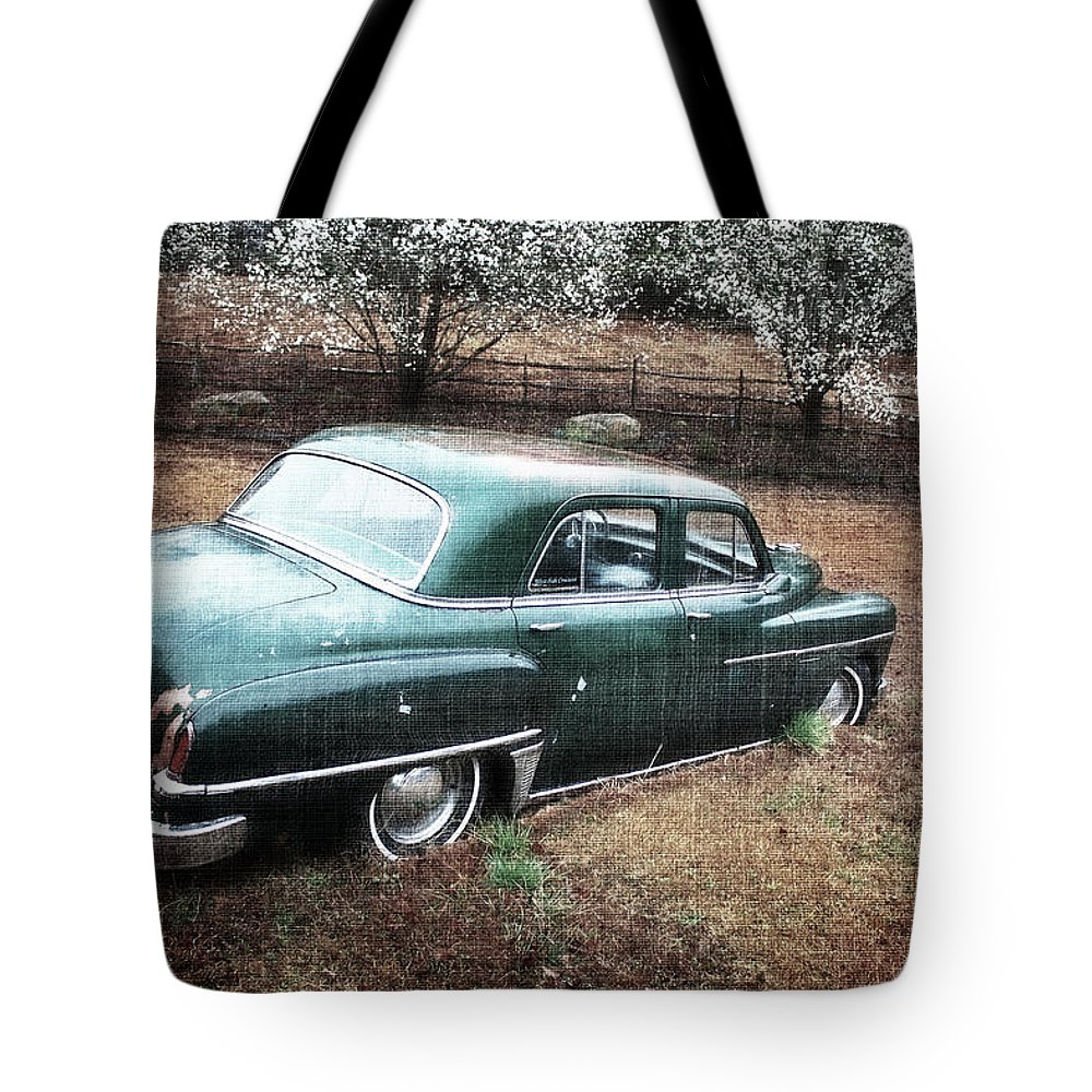 Antique Car Tote Bag featuring the photograph Antique Dodge by Gray Artus