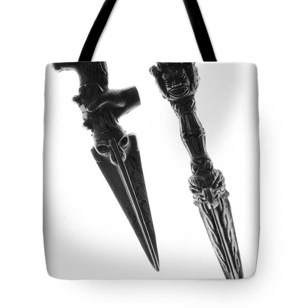 Antique Tote Bag featuring the photograph Antique Indian Fighting Dagger by Floyd Menezes