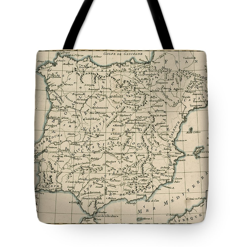Maps Tote Bag featuring the drawing Antique Map Of Spain by Guillaume Raynal