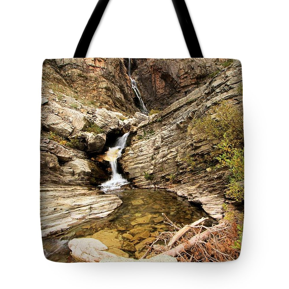 Apikuni Falls Tote Bag featuring the photograph Apikuni Falls by Adam Jewell