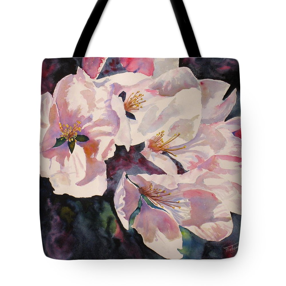 Flowers Tote Bag featuring the painting Apple Blossoms by Mohamed Hirji