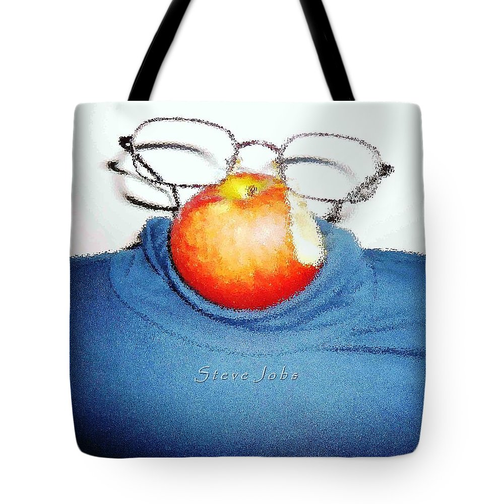 Steve Jobs Tote Bag featuring the painting Apple Mystic-steve Jobs by Piety Dsilva