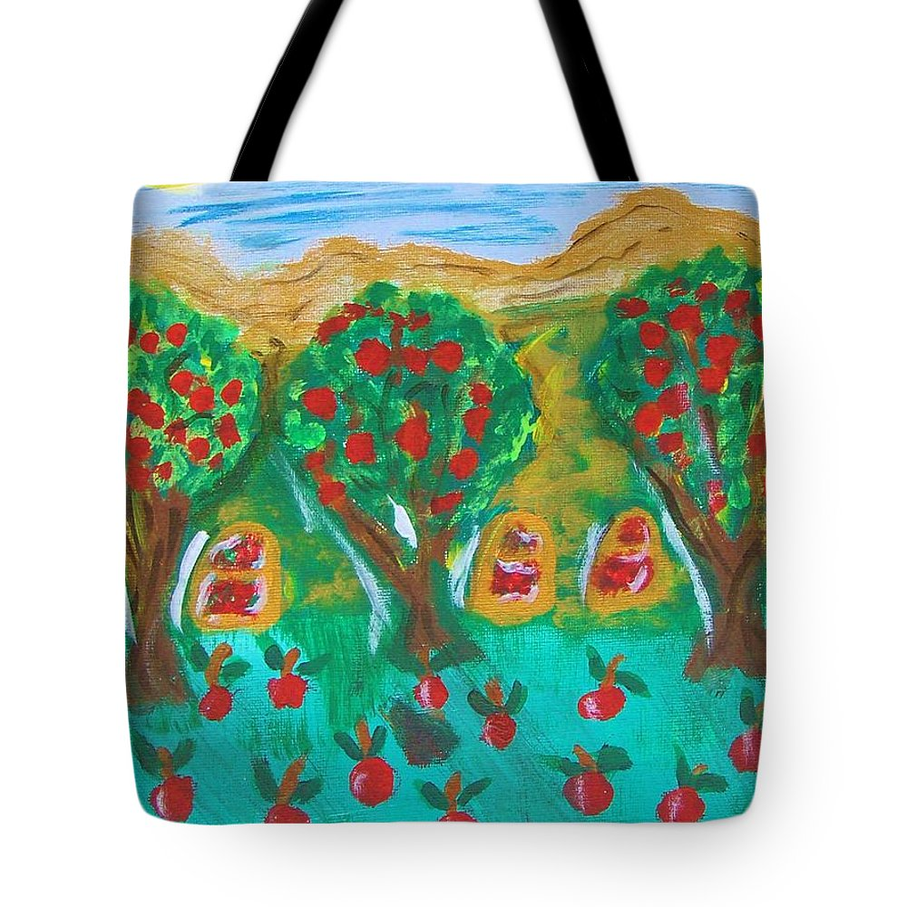 Abstract Tote Bag featuring the mixed media Apple Orchard by M and L Creations Craft Boutique