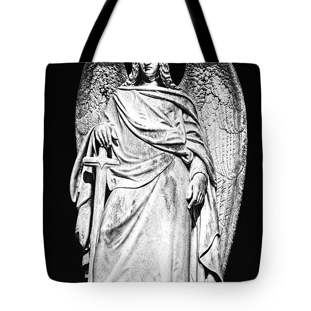 Angel Tote Bag featuring the photograph Archangel By Night by Georgiana Romanovna