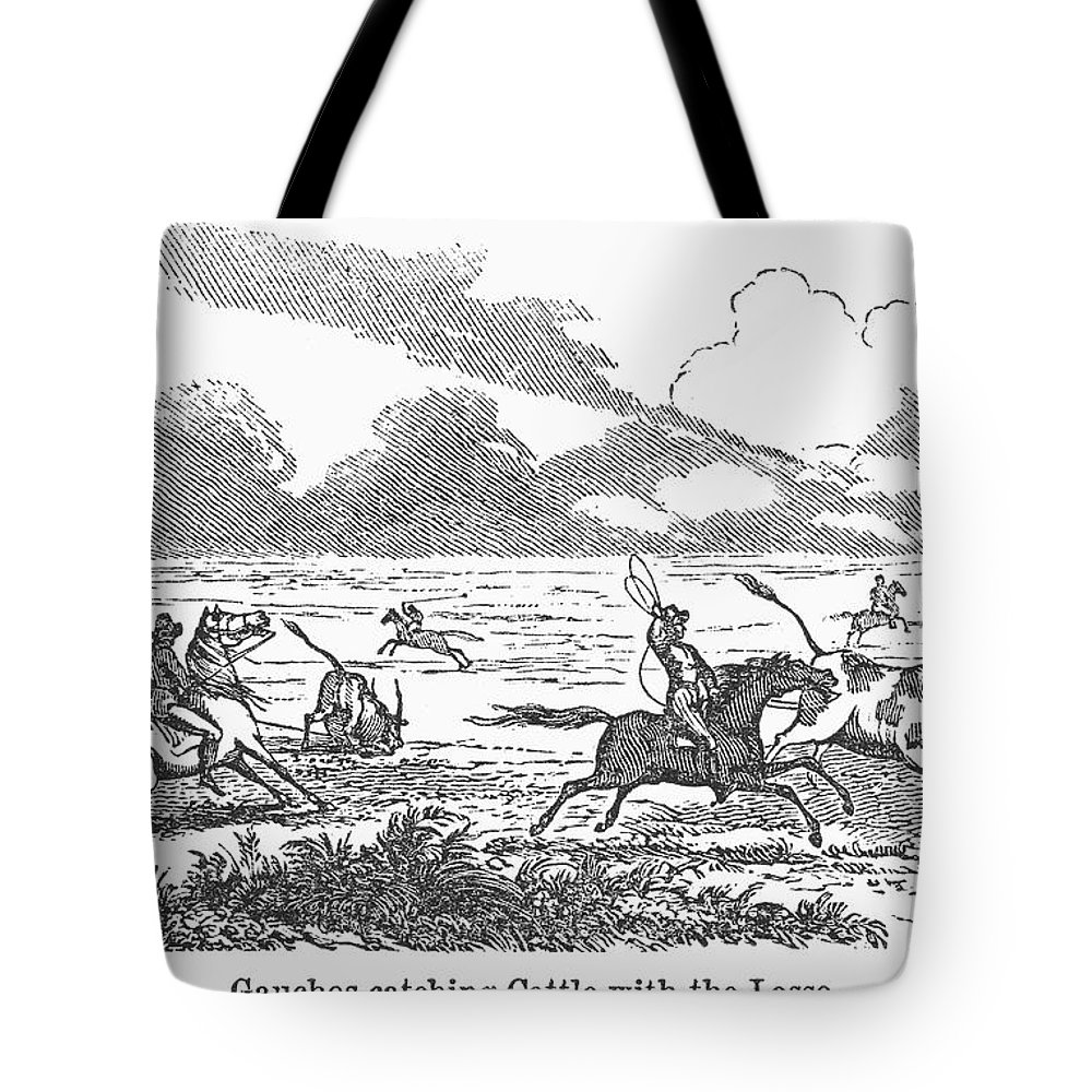 1853 Tote Bag featuring the photograph Argentina: Gauchos, 1853 by Granger