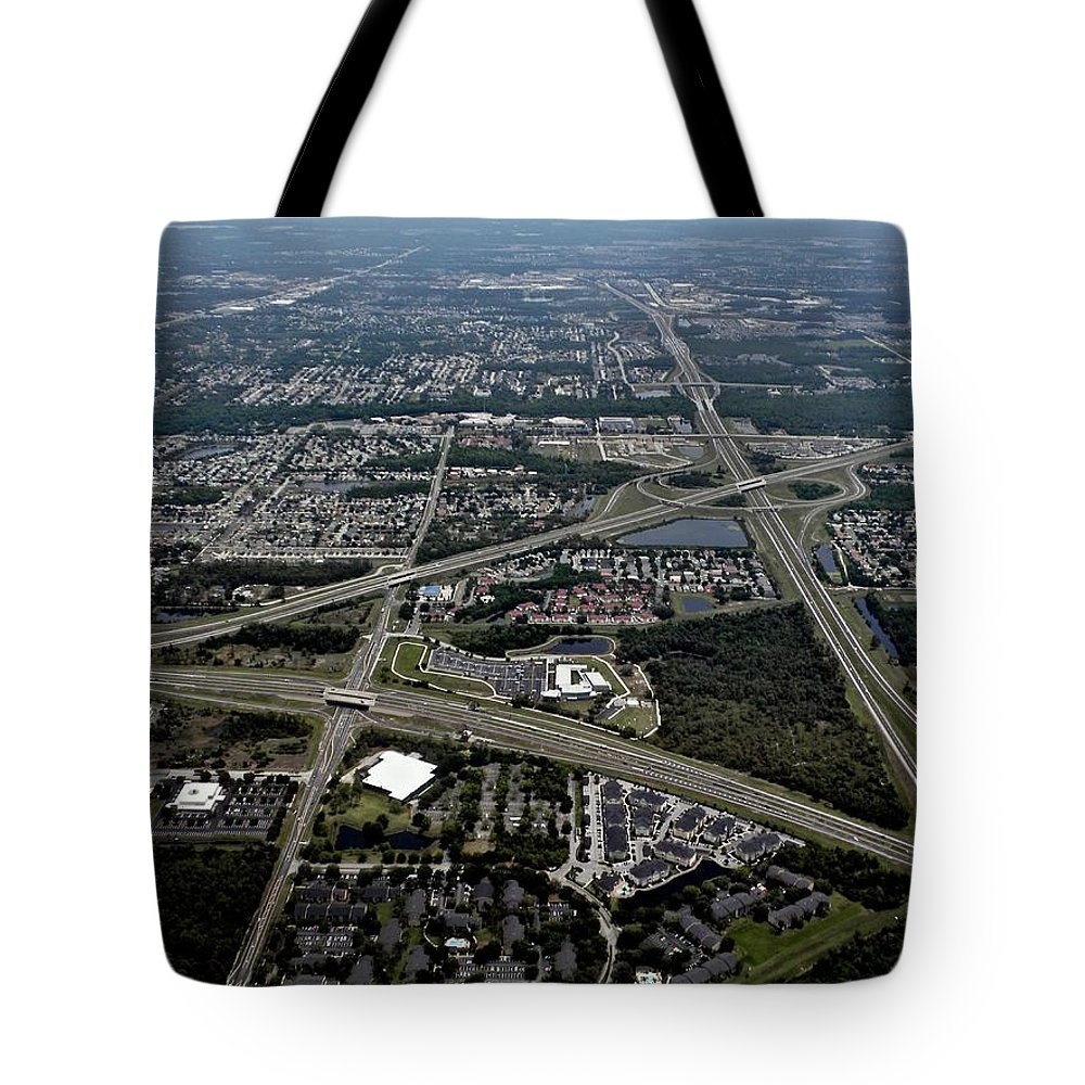 Orlando Tote Bag featuring the photograph Ariel View Of Orlando Florida by Thomas Woolworth