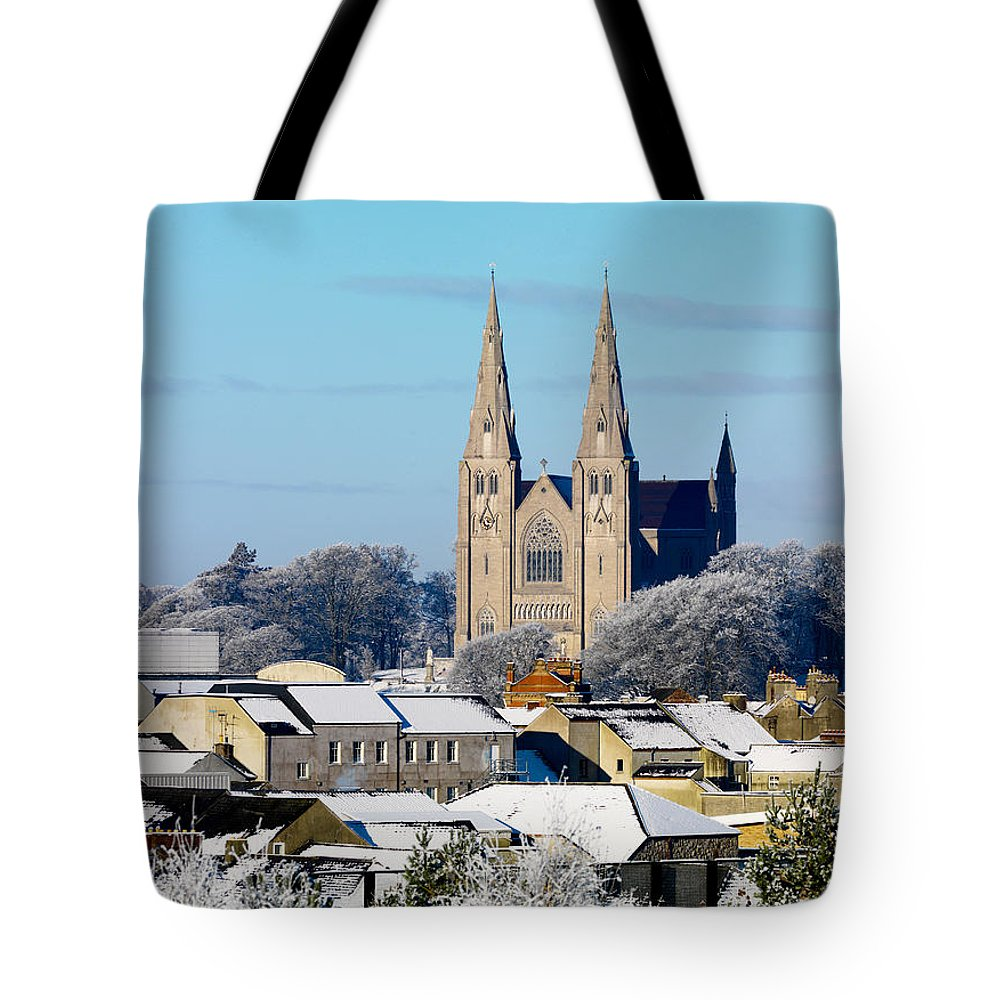 Photography Tote Bag featuring the photograph Armagh Cathedral In The Snow by Chris Hill