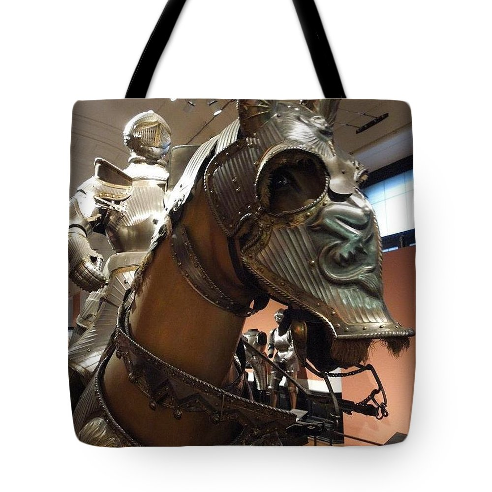 Horse Tote Bag featuring the photograph Armor by Bobbie Moller