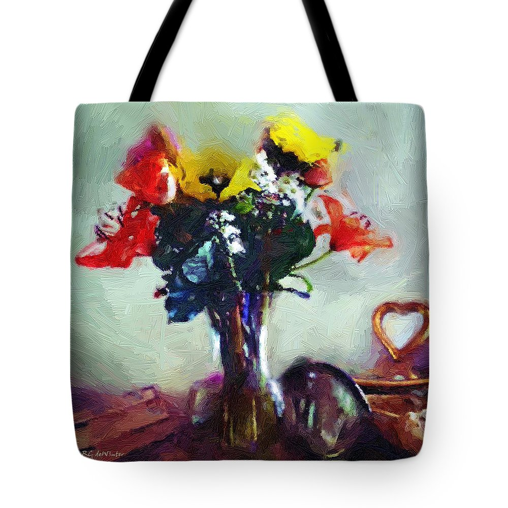 Still Life Tote Bag featuring the painting Arrangement Romantica by RC DeWinter