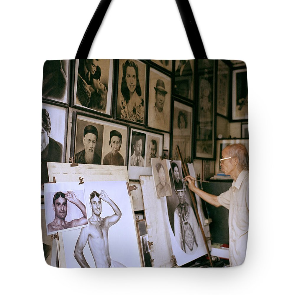 Asia Tote Bag featuring the photograph Artist by Shaun Higson