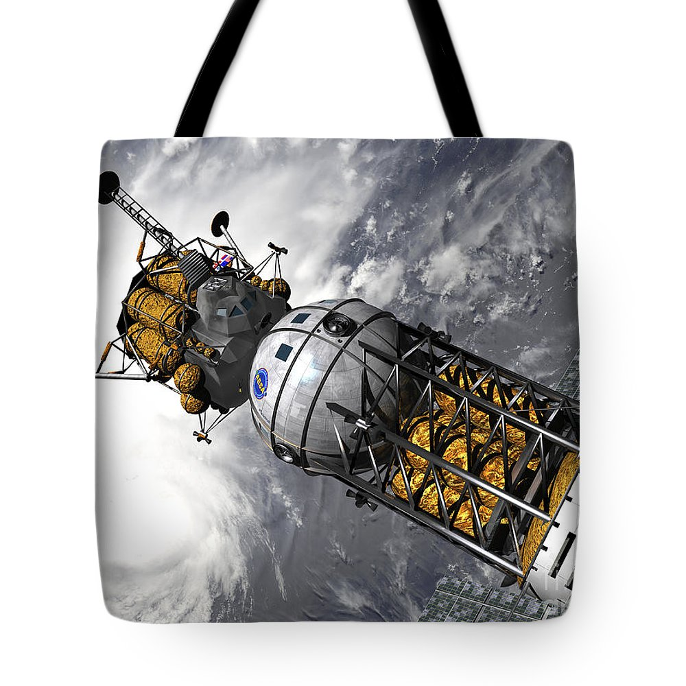 Space Exploration Tote Bag featuring the digital art Artists Concept Of A Space Tug Docked by Walter Myers