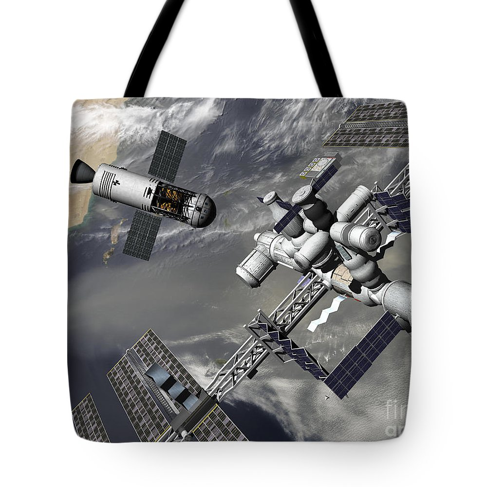 Space Exploration Tote Bag featuring the digital art Artists Concept Of A Trans-lunar Space by Walter Myers