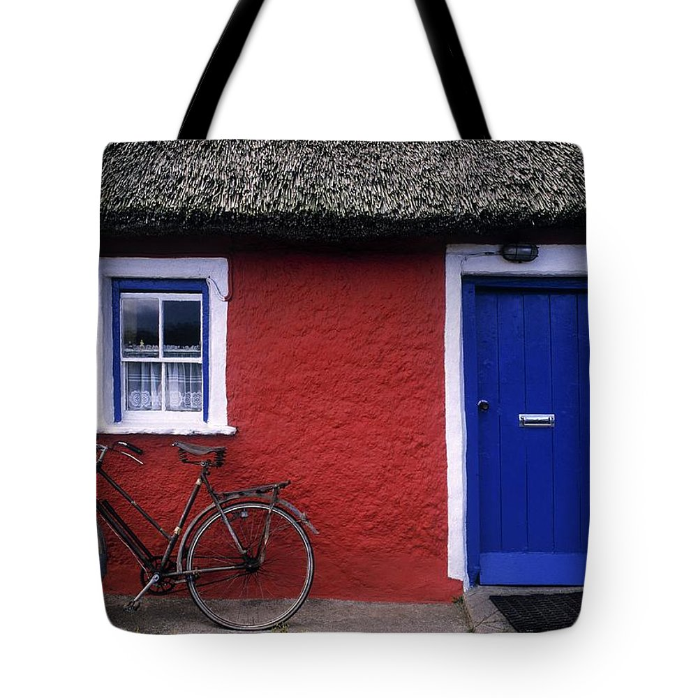 County Limerick Tote Bag featuring the photograph Askeaton, Co Limerick, Ireland, Bicycle by The Irish Image Collection