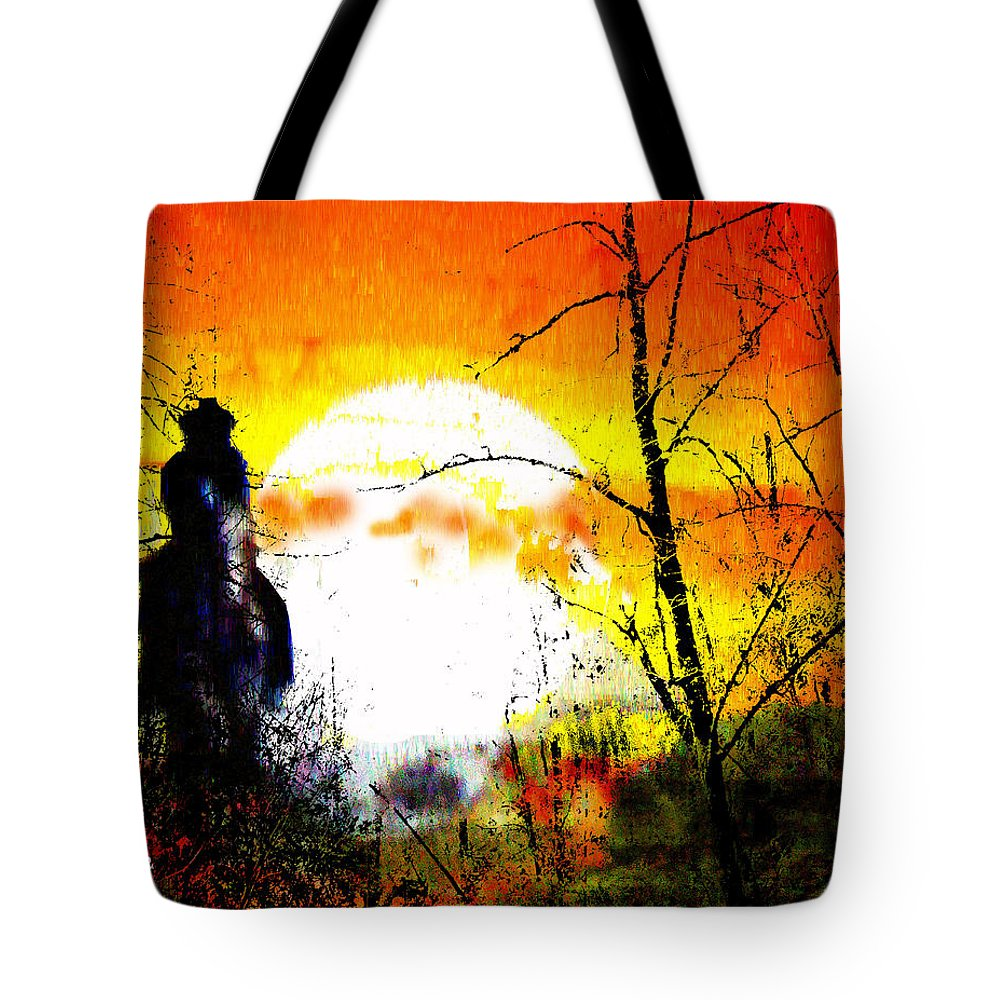 Asleep In The Saddle Tote Bag featuring the digital art Asleep In The Saddle by Seth Weaver