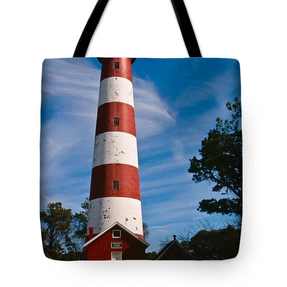 Assateague Tote Bag featuring the photograph Assateague Lighthouse by Joe Elliott