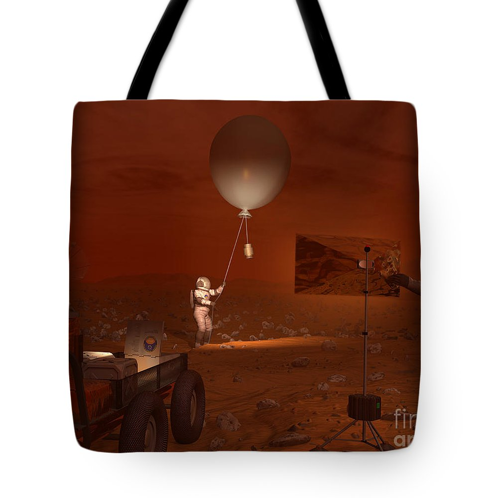 Space Exploration Tote Bag featuring the digital art Astronauts Release A Weather Balloon by Walter Myers