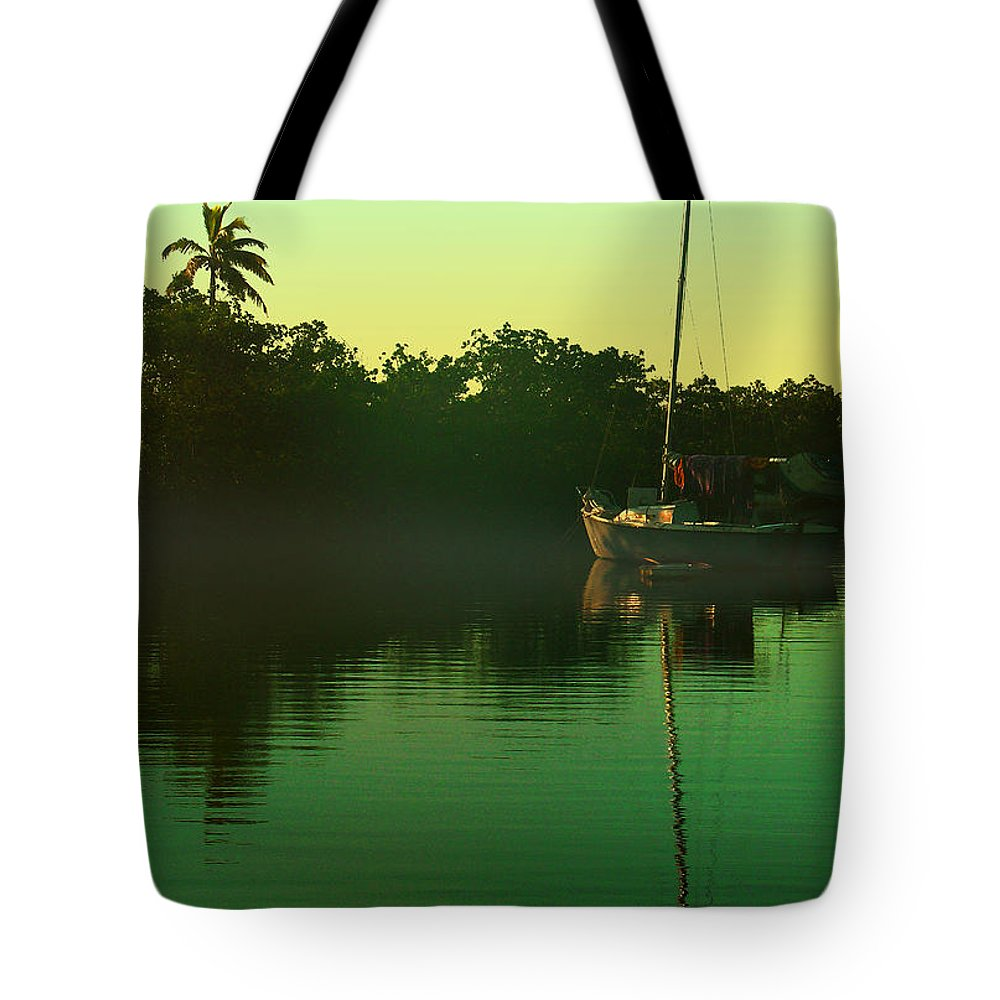 Green Tote Bag featuring the photograph At Anchor by Peggy Starks