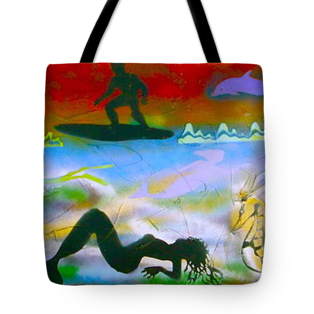 Mermaid Tote Bag featuring the painting At Sea Gold by Tony B Conscious