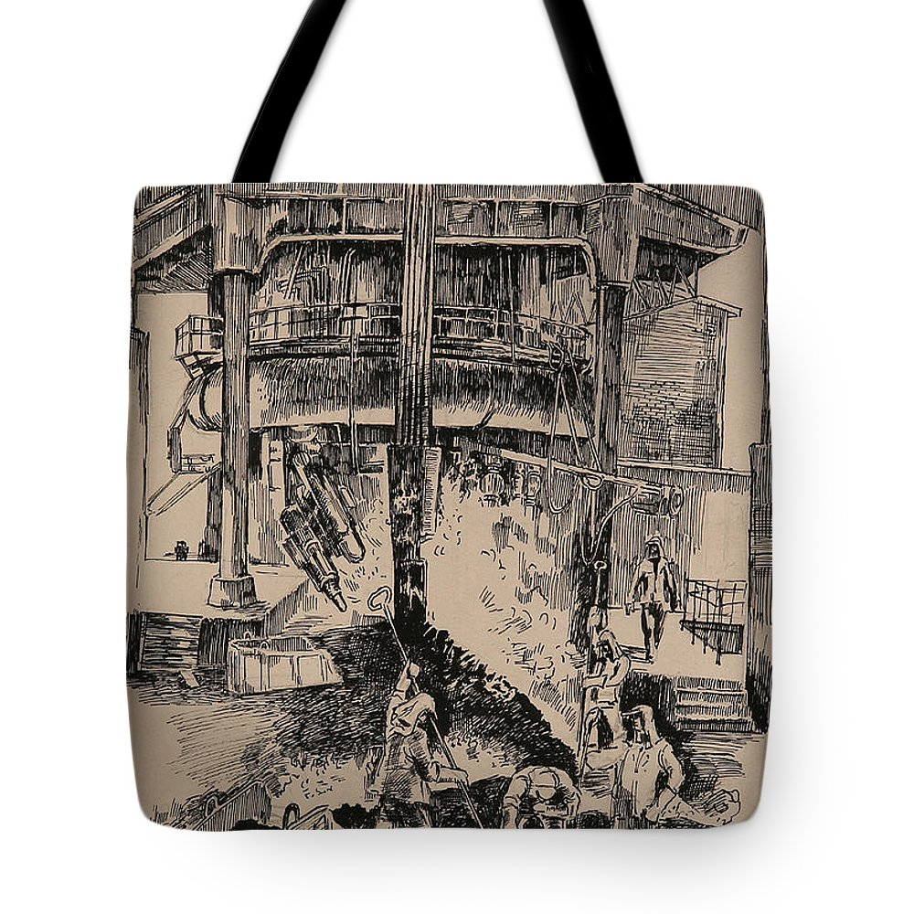 Metallurgical Furnace Tote Bag featuring the drawing At The Blast Furnace by Ylli Haruni
