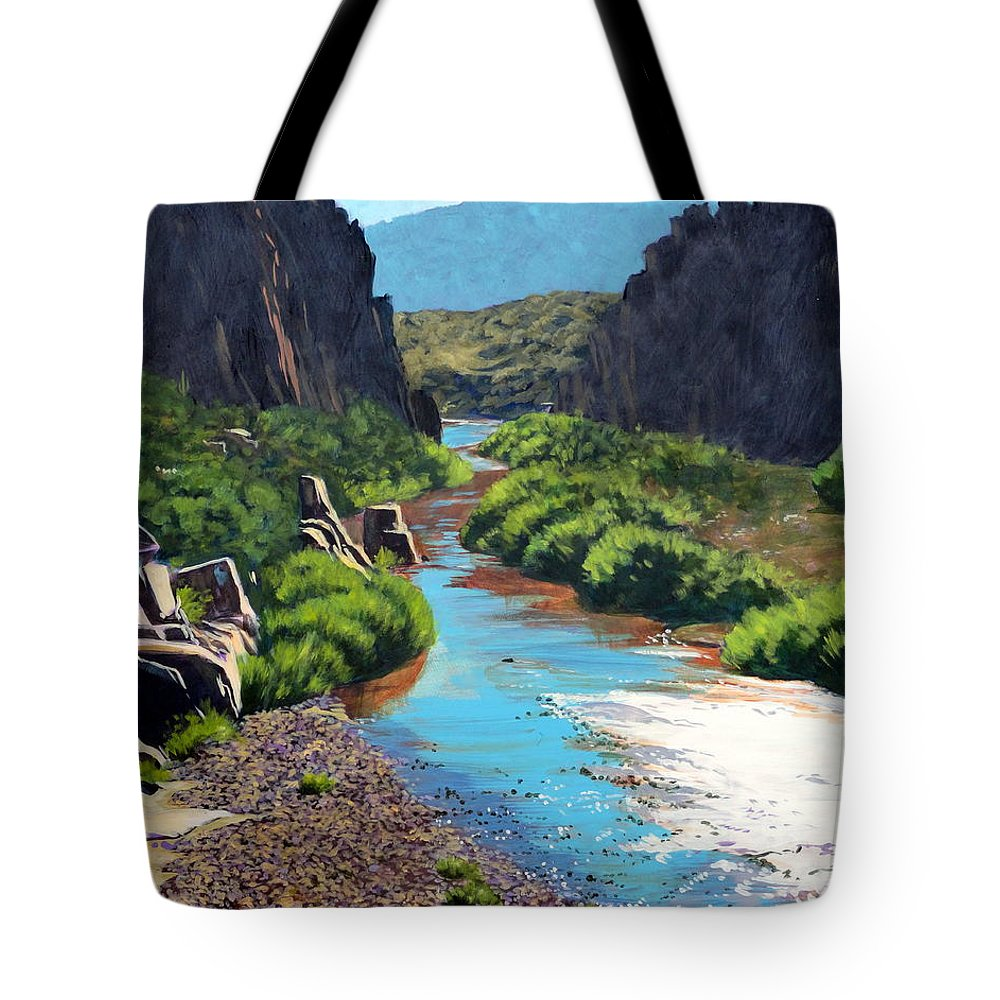 Landscape Tote Bag featuring the painting At The Bridge On The Salt by Darrell Sheppard