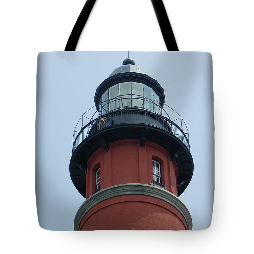 Lighthouse Tote Bag featuring the photograph At The Top by Peggy King