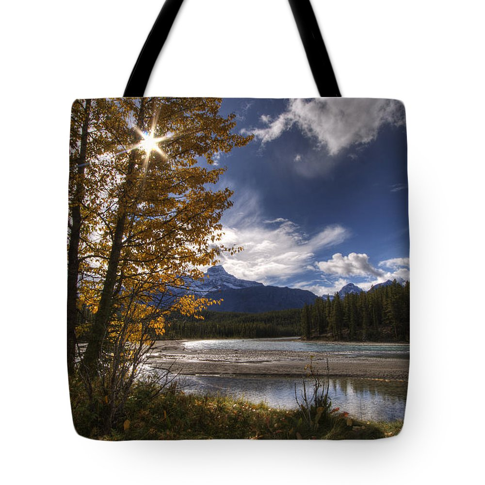 Autumn Tote Bag featuring the photograph Athabasca River With Mount Fryatt by Dan Jurak