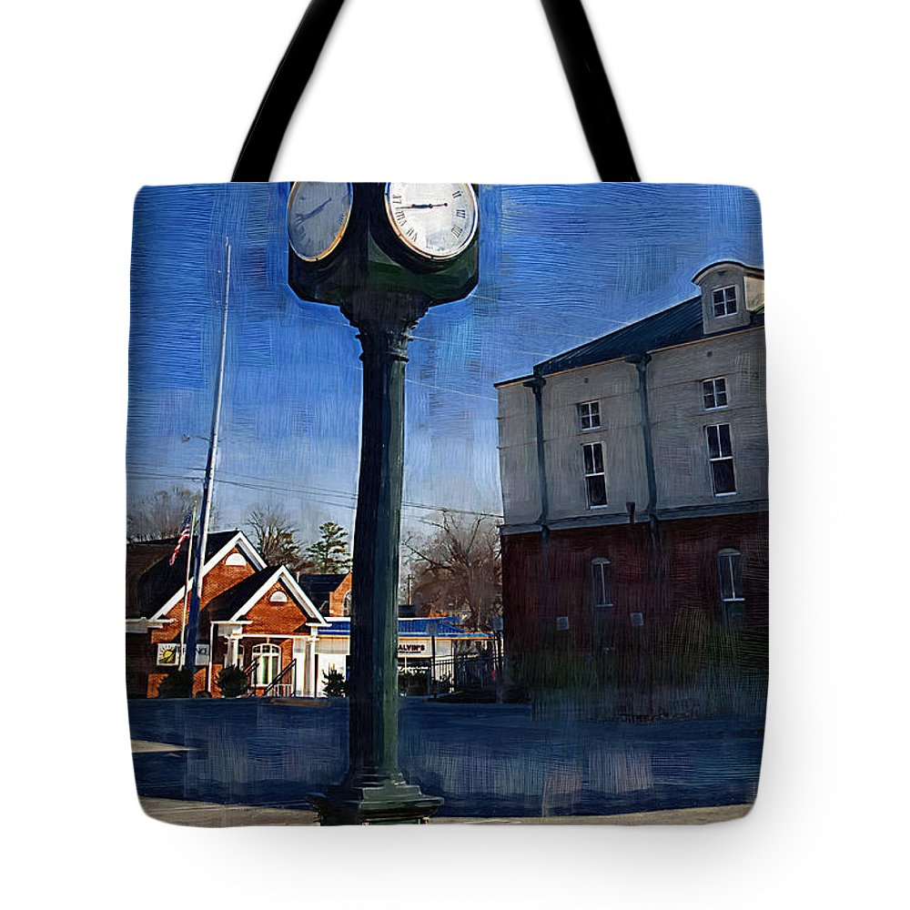 Clock Tote Bag featuring the photograph Athens Alabama City Clock by Kathy Clark
