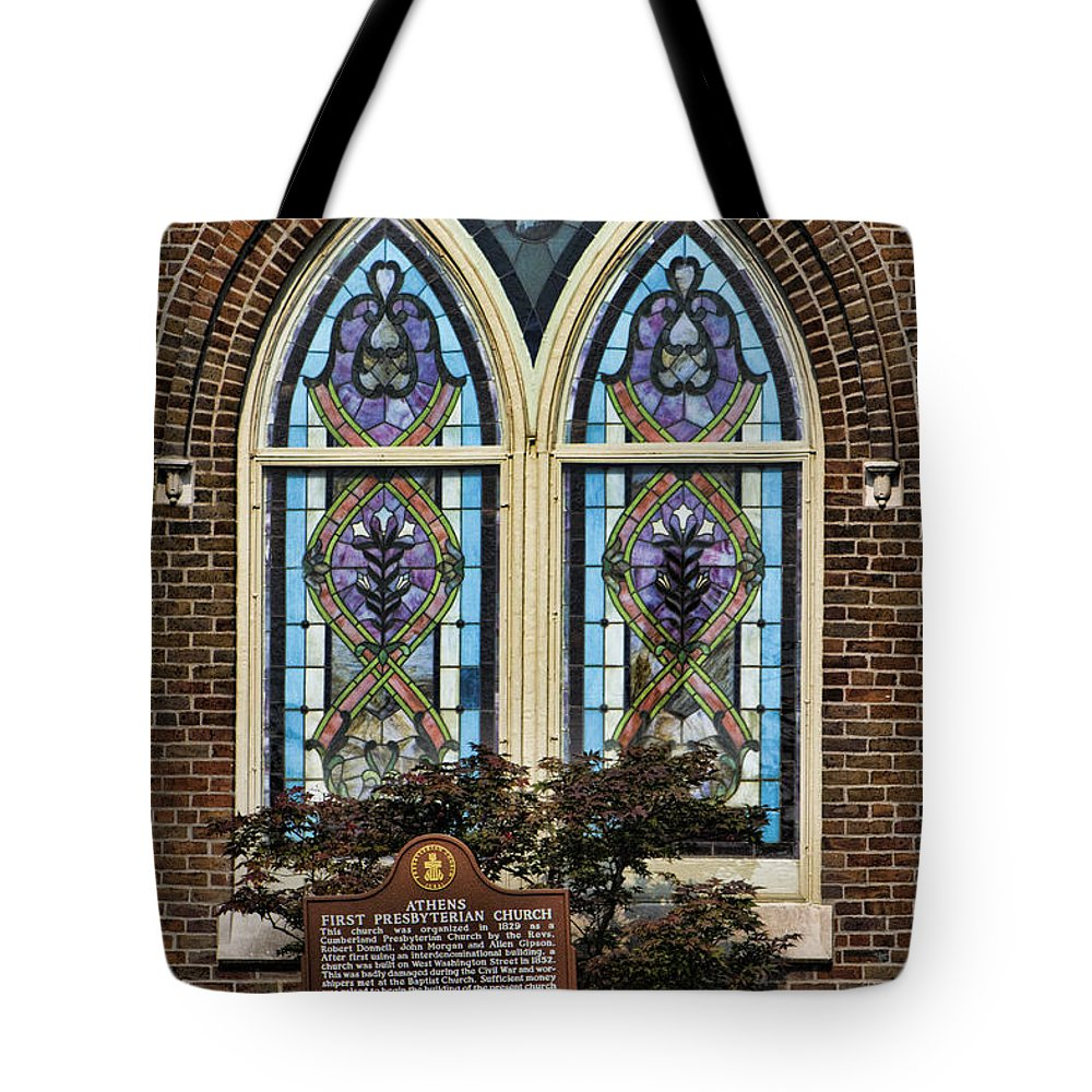 First Tote Bag featuring the photograph Athens Alabama First Presbyterian Church Stained Glass Window by Kathy Clark