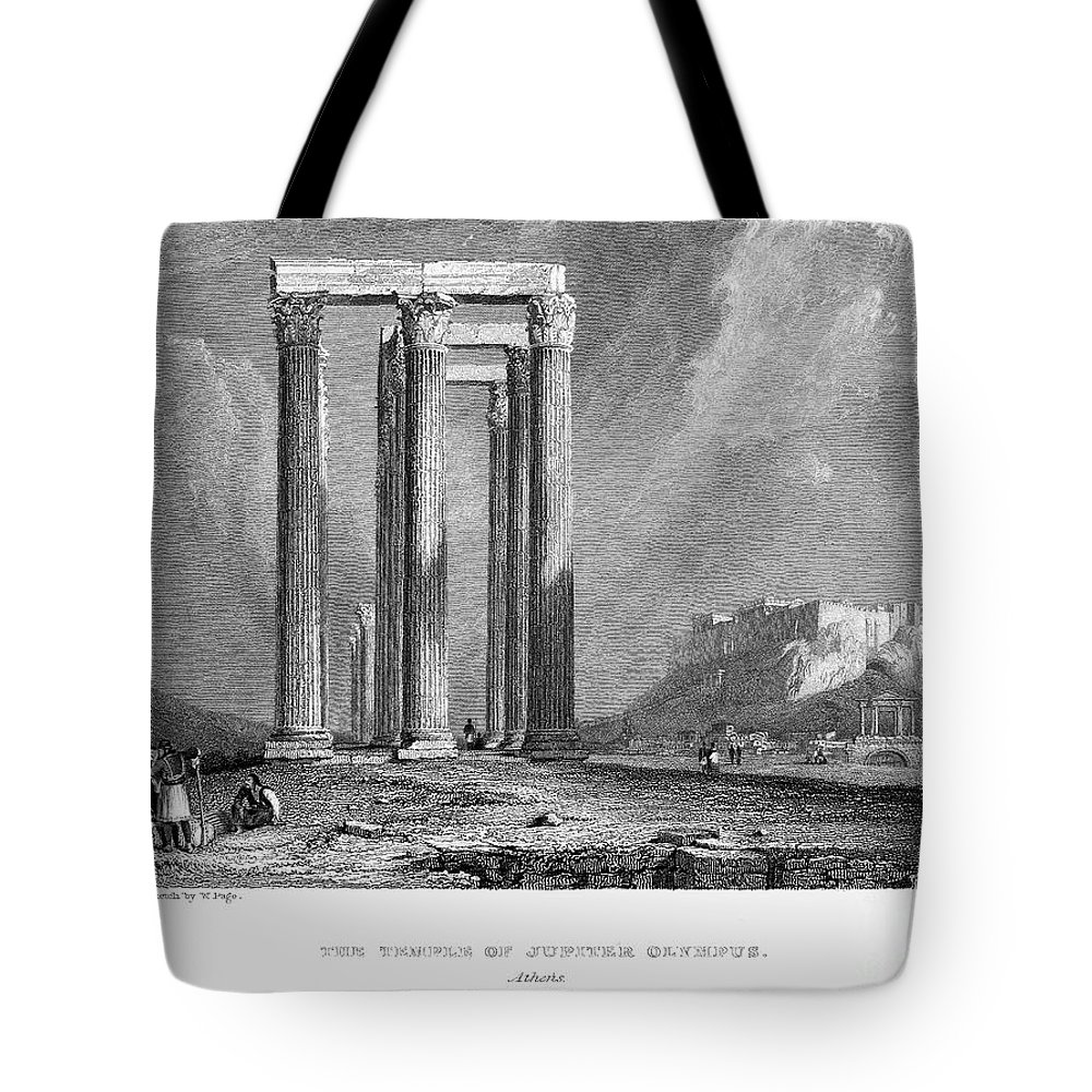 1832 Tote Bag featuring the photograph Athens: Olympian Zeus by Granger