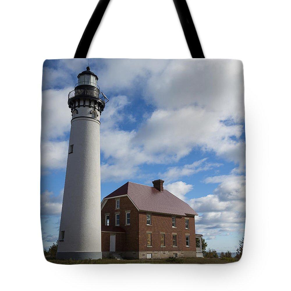 Au Sable Tote Bag featuring the photograph Au Sable Lighthouse 1 by John Brueske
