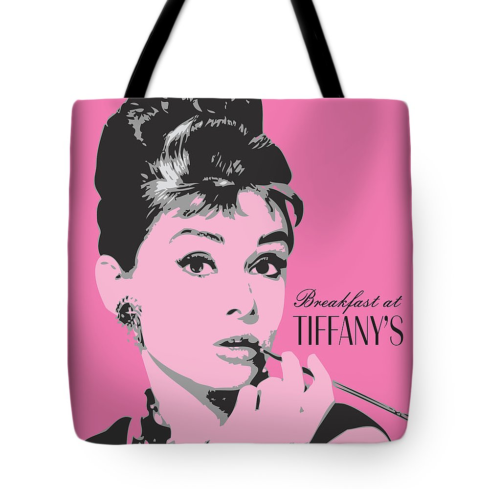 Audrey Hepburn Tote Bag featuring the digital art Audrey Hepburn - Pop Art Portrait by Martin Deane