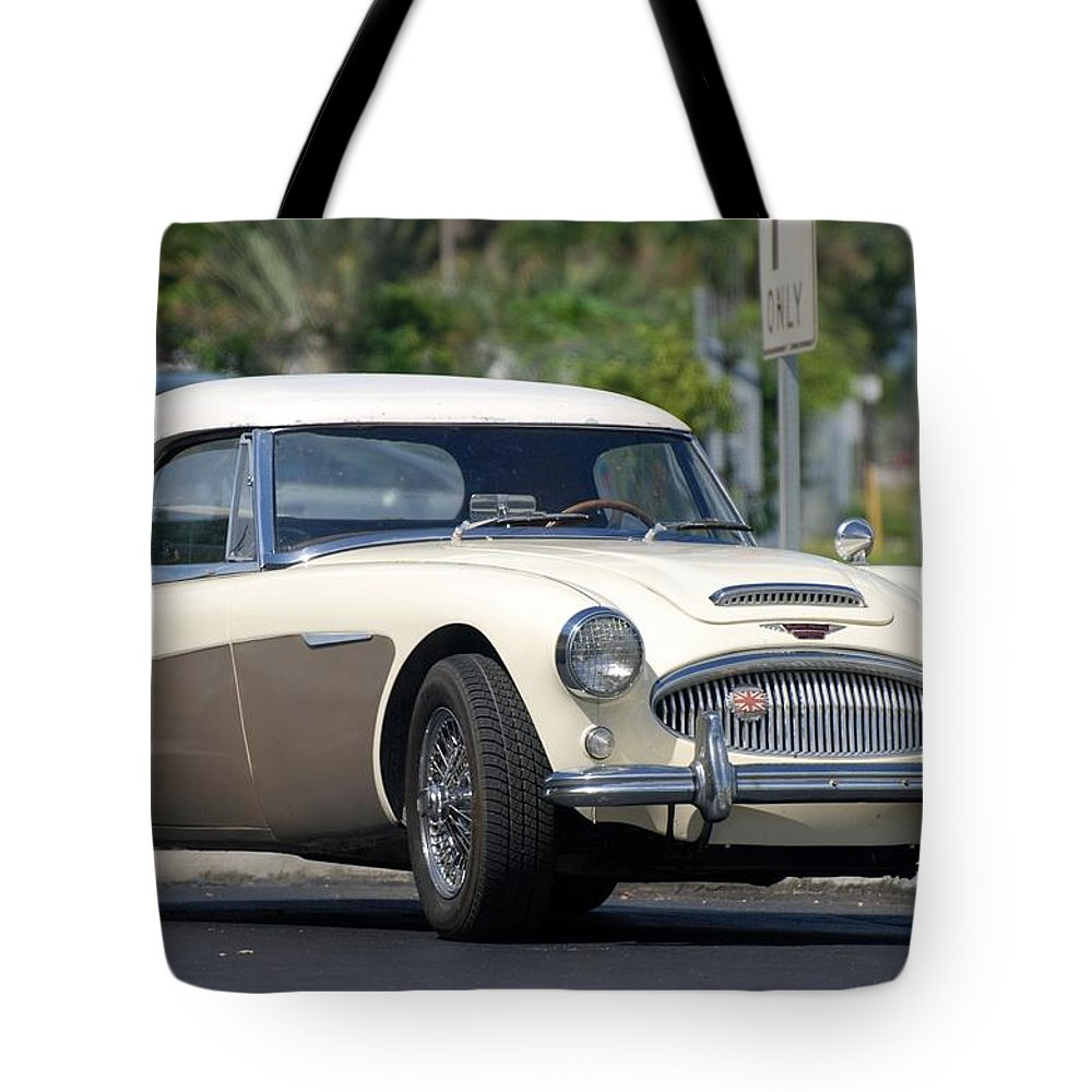 1960 Tote Bag featuring the photograph Austin Healey by Rob Hans