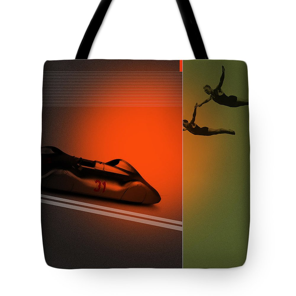 Silver Tote Bag featuring the digital art Autounion by Naxart Studio