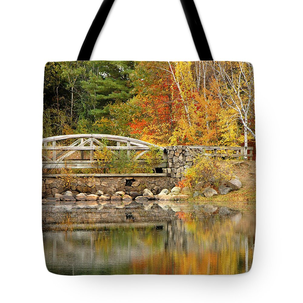 Autumn Tote Bag featuring the photograph Autumn Bridge by Mike Nellums