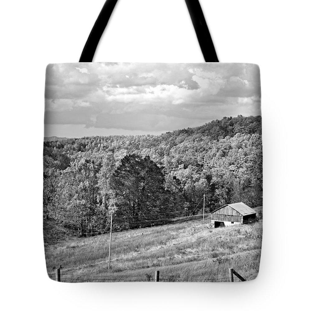 West Virginia Tote Bag featuring the photograph Autumn Farm 2 Monochrome by Steve Harrington