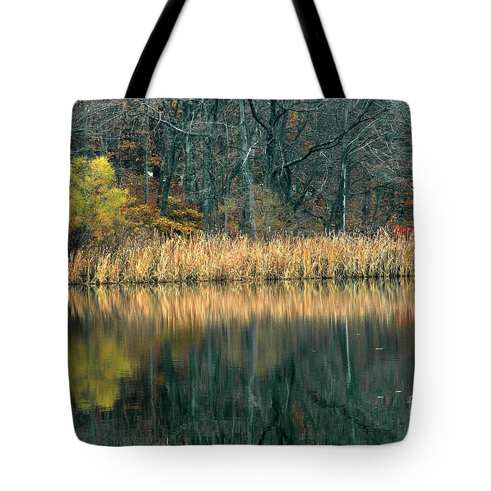 Autumn Tote Bag featuring the photograph Autumn Fisherman Reflections by Mike Nellums