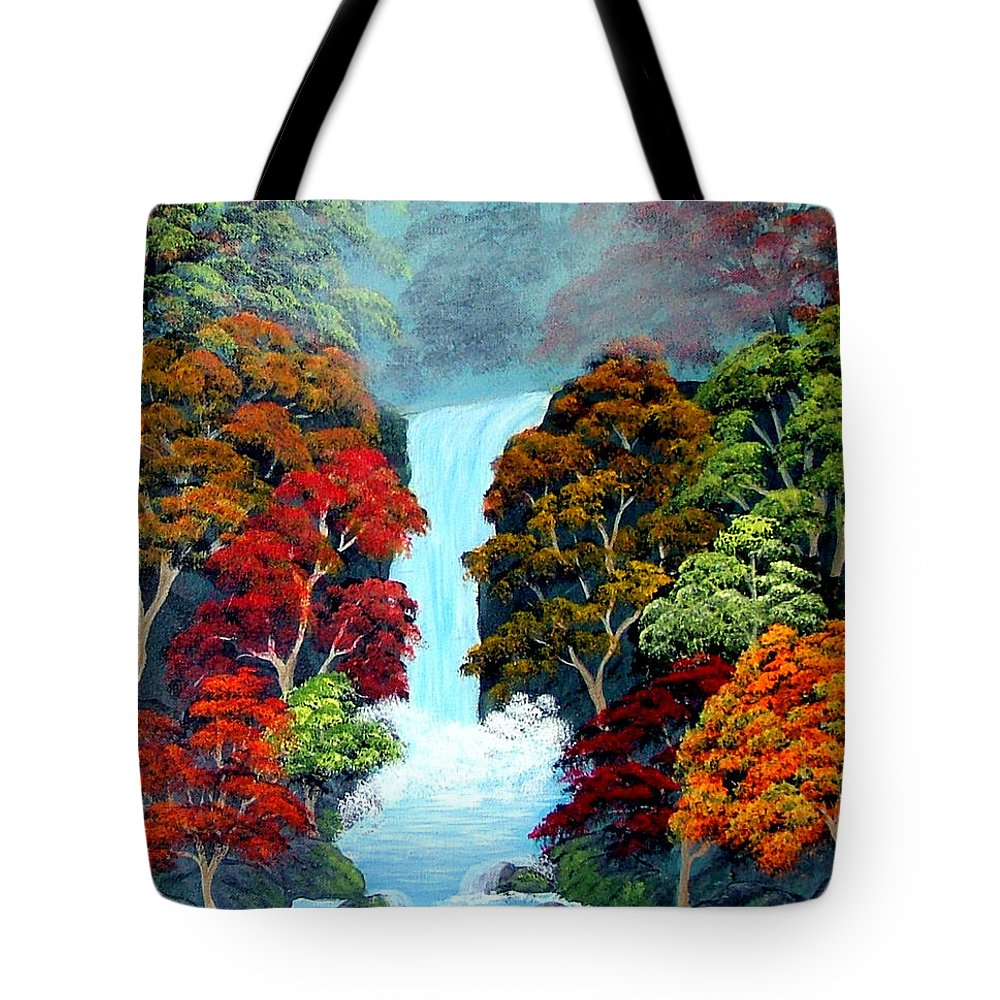 Landscape--waterfalls Tote Bag featuring the painting Autumn Leaves by Fram Cama