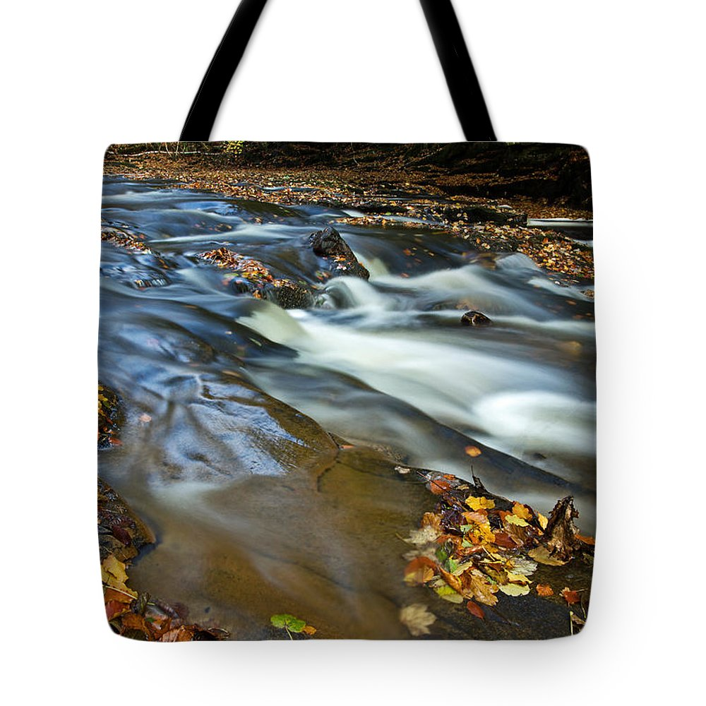 Hart Burn Tote Bag featuring the photograph Autumn Leaves In Water II by David Pringle