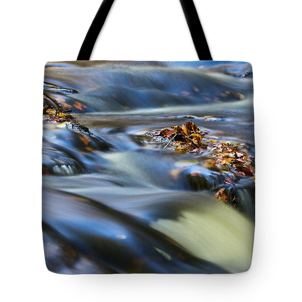 Hart Burn Tote Bag featuring the photograph Autumn Leaves In Water IIi by David Pringle