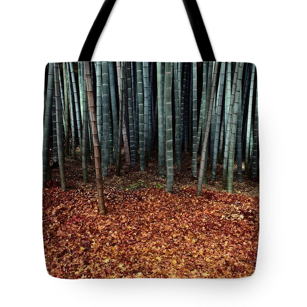 Saihoji Garden Tote Bag featuring the photograph Autumn Leaves Litter The Ground by Sam Abell