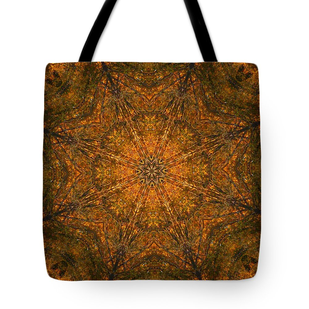 Mandala Tote Bag featuring the digital art Autumn Mandala 2 by Rhonda Barrett