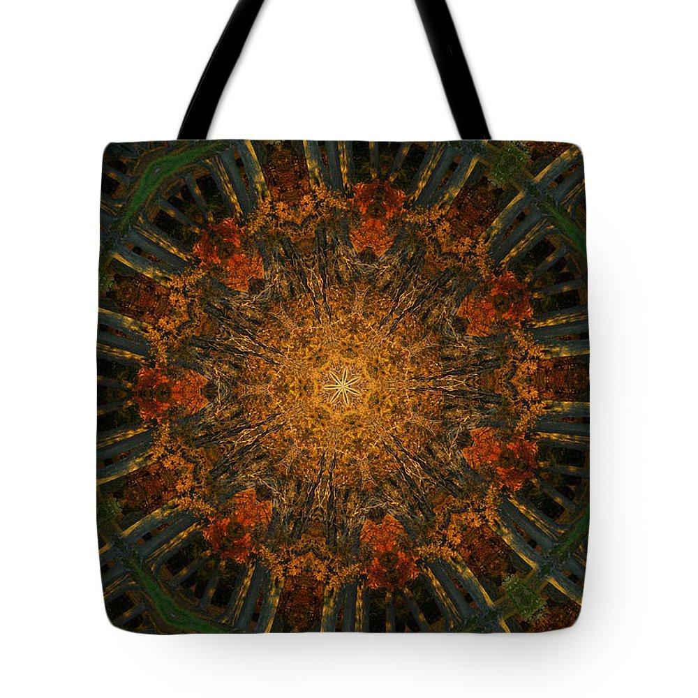 Mandala Tote Bag featuring the digital art Autumn Mandala 6 by Rhonda Barrett
