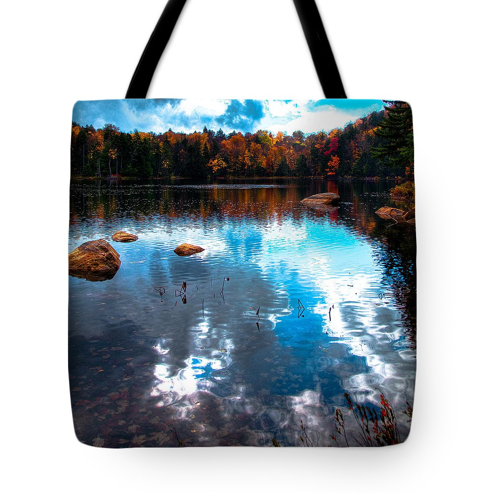 Adirondack's Tote Bag featuring the photograph Autumn On Cary Lake by David Patterson