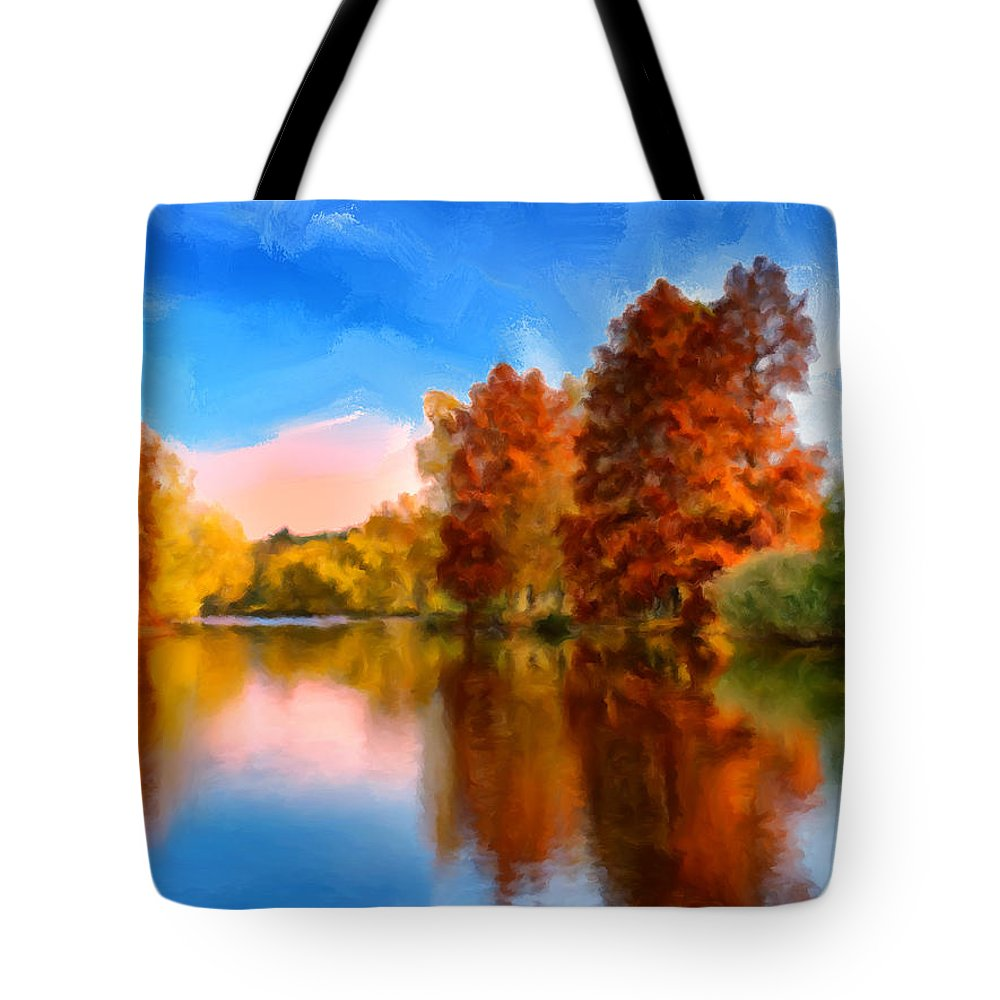 Autumn Tote Bag featuring the painting Autumn On The Lake by Dominic Piperata