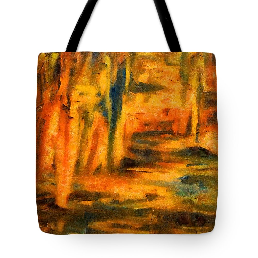 Abstract Tote Bag featuring the painting Autumn Reflection In The Water by Dragica Micki Fortuna