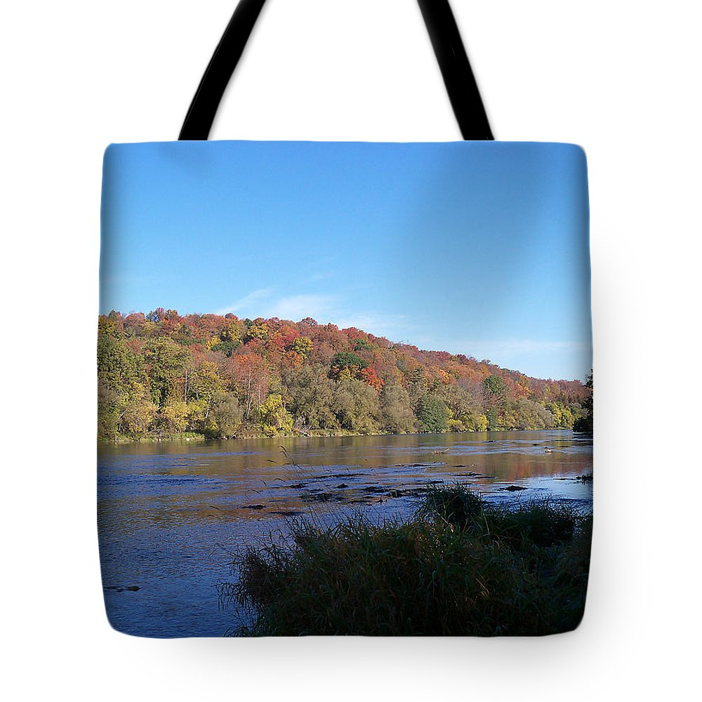 Seasonal Tote Bag featuring the photograph Autumn Scenery Along The Grand River by Corinne Elizabeth Cowherd