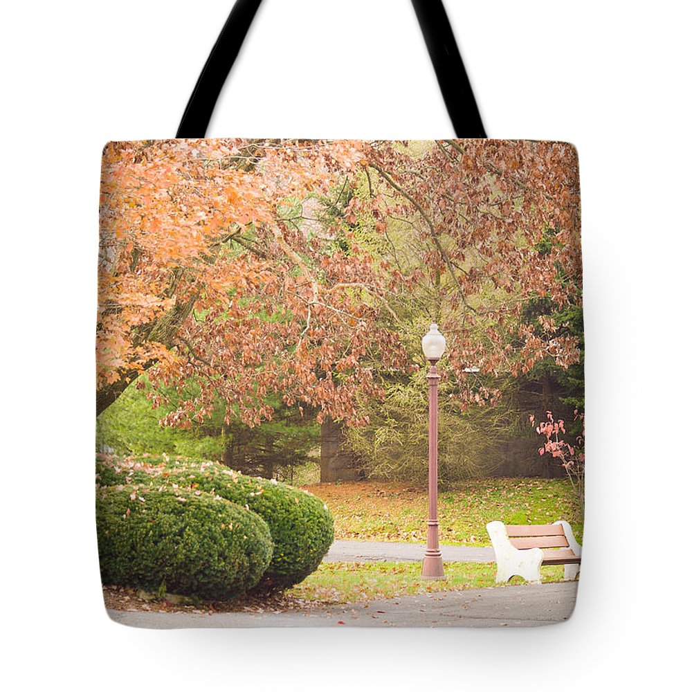 Bench Tote Bag featuring the photograph Autumn Stroll by Trish Tritz