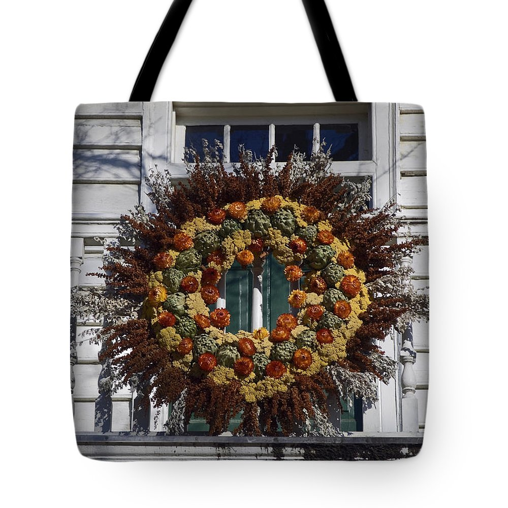 Large Wreath Tote Bag featuring the photograph Autumn Wreath by Sally Weigand